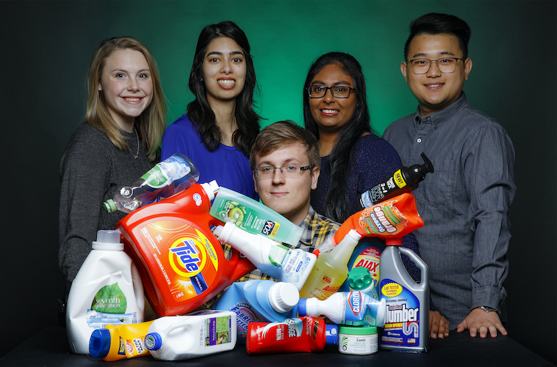 chemical engineering students with plastic waste for their Expo 2020 project